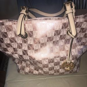 Rare rose gold Michael Kors checkerboard handbag